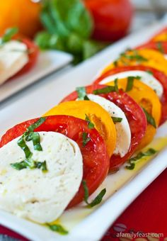 Caprese Salad with red and yellow tomatoes. One of my very favorites!