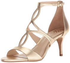 24 Wedding Sandals You Can Definitely Wear Again - gold stiletto sandal with modified t-strap featuring oval cutouts - Vince Camuto Payto sandal, from $88, Amazon