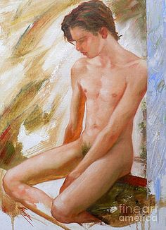 Hongtao     Huang - original boy man body oil painting male nude sitting on the window-008