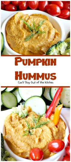 Pumpkin Hummus is to die for! Fabulous taste adding pumpkin to the mix. Great appetizer for parties or to serve as healthy, low calorie snacks.