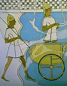 Charioteer and spearsman, from a Greek Late Bronze Age wall painting