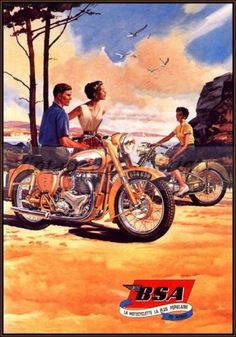 BSA Motorcycles Beach  http://stores.ebay.com/Vintage-Poster-Prints-and-more