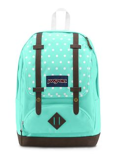 The new JanSport Cortand Backpack in Aqua Dash Dots featuring a faux leather bottom and a laptop sleeve. Mochila Jansport, Jansport Backpack, Diaper Bag, Polka Dot Backpack, Dash And Dot, Leather Laptop Backpack, Cute Backpacks, School Backpacks, Backpack Brands