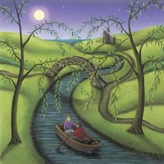 River Of Dreams by Paul Horton, available as Mounted. ✅FREE DELIVERY✅ on prints & sculptures orders over Beautiful Paintings, Beautiful Landscapes, Paul Horton, Craft Images, Boat Art, Dream Art, Naive Art, Abstract Landscape, Art And Architecture