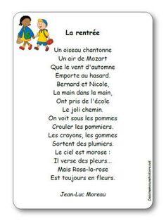 Poésie La rentrée de Jean-Luc Moreau Compassion, Poems, Mozart, French, Beignets, School, Animation, Back To School, French People