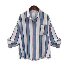 2016 Autumn Long Sleeve Striped Blouse Women Large Size Loose Casual Shirt Women with Poket Vintage Chemise Femme