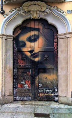 """""""Because religion has such a compelling hold on the deep psyches of so many people, feminists cannot afford to leave it in the hands of the fathers. Christ - Art: Door in Milan - Street Art - Graffiti Mural by El Mac - Mlle Cool Doors, Unique Doors, Graffiti Murals, Street Art Graffiti, Graffiti Artists, Graffiti Lettering, Street Artists, Urban Street Art, Urban Art"""