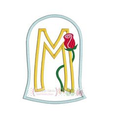 Glass Rose Alphabet Letter M Digital by ButterflyStitchesemb