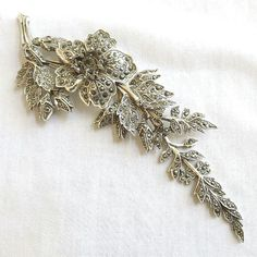 Vintage Silver Tone Marcasite Rhinestone Encrusted Articulated Flower & Vine Shoulder Brooch on Etsy, $58.00