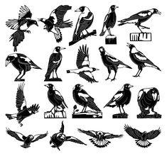 Australian Tattoo, Australian Animals, Australian Art, Cnc, Magpie Tattoo, Metal Birds, Mo S, Aboriginal Art, Bird Art