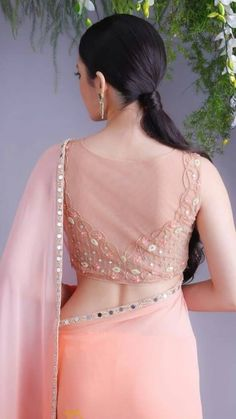 Peach Pink Mirror Work Saree with sheer saree blouse back design. Peach Pink Mirror Work Saree with sheer saree blouse back design. Saree Blouse Neck Designs, Silk Saree Blouse Designs, Fancy Blouse Designs, Designer Blouse Patterns, Designer Dresses, Designer Sarees, Saris, Silk Sarees, Cotton Saree