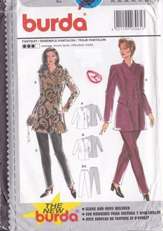 Sewing Pattern Burda 3061  Asymmetrical Jacket Pants Pantsuit Small to plus size  New Size 8 10 12 14 16 18 8/18 FF UNCUT by LanetzLiving on Etsy Burda Sewing Patterns, Simplicity Sewing Patterns, Star Patterns, How To Look Better, Dresses With Sleeves, Plus Size, Couture, Pants, Jackets