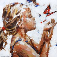 'Butterfly', acrylic on canvas, Dorus Brekelmans 2015 - you have norah at the peoria playhouse - paint that Painting People, Painting For Kids, Figure Painting, Painting & Drawing, Art For Kids, Art Children, Figurative Kunst, Butterfly Painting, Guache