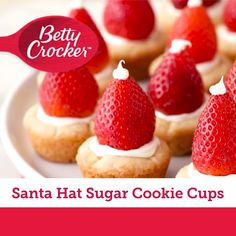 Sweet and simple sugar cookie cups, made easy with Betty Crocker™ cookie mix, get all dressed up for the season with vanilla frosting and fresh strawberries.