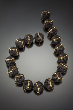 Beaded bead necklace by Barbara Packer - multi-drop peyote stitch.