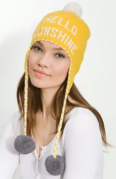 kate spade's 'hello sunshine' ski hat! this has my name written ALL over it! i NEED this!!! $85.00.
