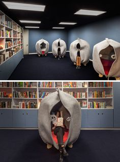 This modern office has a library and meditation room for employees to have some private time after a difficult call or meeting. Office Interior Design, Office Interiors, Interior Decorating, Office Designs, Office Ideas, Modern Interior, Office Decor, Meditation Rooms, Relaxation Room
