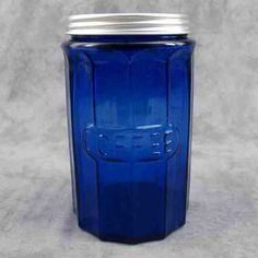 COBALT BLUE GLASS TALL COFFEE CANISTER w/ Metal Lid ~ COLUMN DESIGN ~ #Unmarked