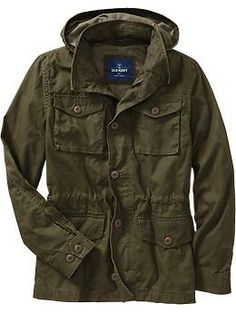 A jacket you can wear in the rain Rain happens. Instead of a crinkly nylon windbreaker, get yourself a trim trench (belted, double breasted) or a sleek mac (no belt, single breasted) or even a weather-resistant army jacket or field jacket. Men's Hooded Military-Style Canvas Jackets | Old Navy