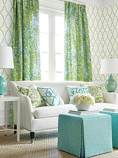 Mirador fabrics & wallpapers.  Love how the colors work so well together.  Really brightens up the room.  source4interiors.com