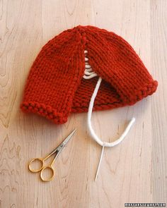 Learn how to make a knit hat and scarf.