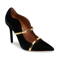 Women's Malone Souliers Maureen Double Band Pump (¥60,050) ❤ liked on Polyvore featuring shoes, pumps, pointy toe shoes, polish shoes, pointed-toe pumps, shiny shoes and velvet pumps