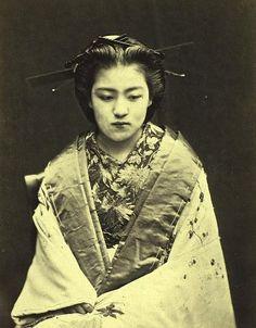 Portrait of a courtesan. Meiji Perod. Japan.