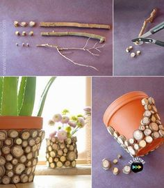 Original ideas if you want to decorate your vases - Basteln Holz - Vase ideen Garden Crafts, Home Crafts, Diy Bedroom Decor, Diy Home Decor, Decorated Flower Pots, Deco Nature, Clay Pot Crafts, Diy Planters, Vases Decor