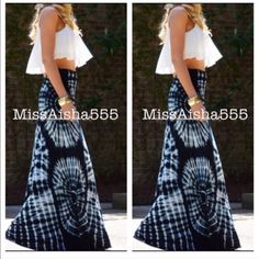 String tie dye maxi skirt Bohemian chic string maxi tie dye fold waist skirt PLEASE comment on the size you want ( when your ready to purchase) and allow me to make you a personalized listing BUNDLE And SAVE 10% please don't use the bundle option doesn't guarantee sizes available Skirts Maxi