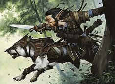 """Turntimber Ranger, MtG art by Wayne Reynolds. """"The lone wolf dies alone. Fantasy Warrior, Fantasy Rpg, Fantasy Scout, Dungeons And Dragons Characters, Dnd Characters, Fantasy Characters, Fantasy Figures, The Elder Scrolls, Fantasy Artwork"""