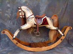 Rocking horses - traditional dappled grey rocking horse on safety stand. Wood Rocking Horse, Antique Rocking Horse, Wooden Horse, Vintage Horse, Antique Toys, Vintage Antiques, Equestrian Decor, Painted Pony, Hobby Horse
