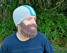 Crocheted Beard Hat Helmet or Beanie  by SimplyCollectible on Etsy, $48.00
