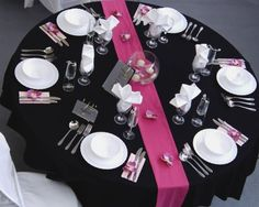 Again the black table cloth and magenta runner and beautiful together- and can be reused. We may want to consider two runners, that way it is cross-like.
