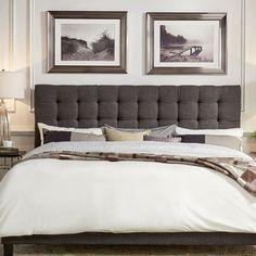 Mercury Row Cacho Upholstered Panel Headboard Upholstery: Dark Gray, Size: Full