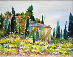 Idylle -im Garten der Toskana.. AQUARELL