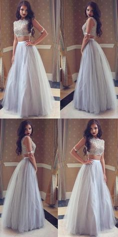 2019 New Popular Two-Pieces Silver Tulle Party Gowns With Jewel, Sleeveless Long Party Gowns, on Luulla Two Piece Wedding Dress, Prom Dresses Two Piece, Prom Dresses 2018, Tulle Prom Dress, Prom Party Dresses, Dress Long, Grad Dresses, Dress Party, Long Party Gowns
