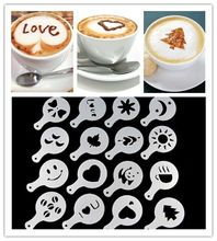 16Pcs/set Fashion Cappuccino Coffee Barista Stencils Template Strew Pad Duster Spray Tools(China (Mainland))