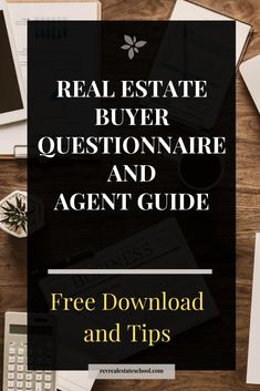 Real Estate Buyer Questionnaire and Guide Rev Real Estate School Real Estate School, Real Estate Career, Real Estate Tips, Real Estate Investing, Investing Money, Real Estate Buyers, Online Real Estate, Selling Real Estate, Real Estate Courses