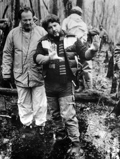 Cinematographer Andrew Laszlo and director Walter Hill on the Louisiana bayou location of Southern Comfort.