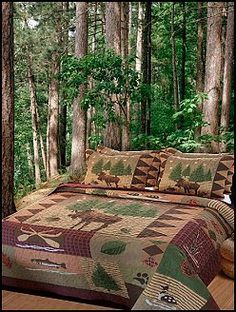 lodge cabin log cabin themed bedroom decorating ideas - moose fishing camping hunting lodge bedrooms for boys - decorating lodge style northwood wild animals woods theme bedrooms - rustic style home decorating - black bear decor - moose decor - cabin decor - wall mural stickers nature theme boys room