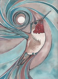 Red Rufous Hummingbird 4 x 6 print of hand painted detailed watercolour artwork in turquoise salmon pink rust earth tones in flight via Etsy.