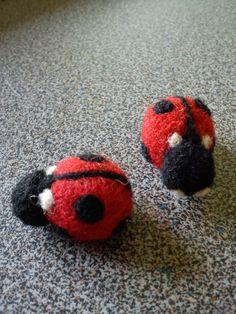 Needle felted wool ladybug fridge magnets
