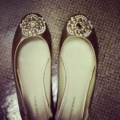 Adrienne Vittadini flats to dress up a boring/ monochrome outfit. (You don't want sparkle overload.)