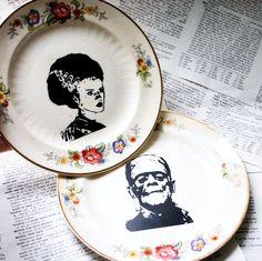 Frankenstein's Monster and Bride themed altered vintage plate set