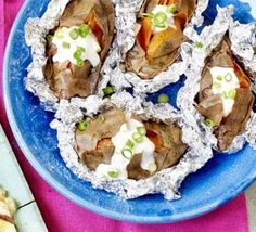 Barbecue baked sweet potatoes with green onion & yoghurt 15 mins!