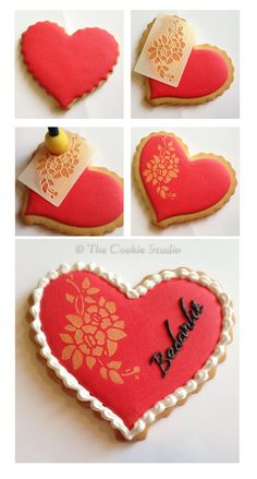 How to for Royal icing cookie with stencil and luster dust - sharing.How to for Royal icing cookie with stencil and luster dust Fancy Cookies, Iced Cookies, Cute Cookies, Cookies Et Biscuits, Cupcake Cookies, Sugar Cookies, Heart Cookies, Cookie Favors, Flower Cookies