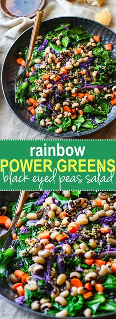 Vegan Rainbow Power Greens Salad with Black Eyed Peas. A healthy gluten free power greens salad packed with lucky black eyed peas and super nutrients. A great way to start off the new year and get back on track with clean eating. Easy to make and full of flavor!. @Lindsay - Cotter Crunch