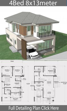 Home Design Plan with 4 Bedrooms. - Home Ideas Home Design Plan with 4 Bedrooms. - Home Design with Plansearch House Layout Plans, Duplex House Plans, Dream House Plans, Modern House Plans, House Layouts, House Floor Plans, 2 Storey House Design, Bungalow House Design, House Front Design