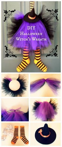 DIY Halloween Witch Wreath. Create this witch wreath for decorating your doors…