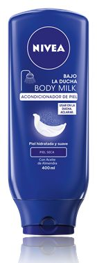 Bajo la Ducha Body Milk, el primer Acondicionador de piel de NIVEA. Un producto hidratante corporal con Aceite de Almendras para piel seca que deja al instante la piel suave y sedosa.